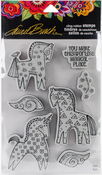 Magical Horses - Stampendous Laurel Burch Cling Stamp W/Template