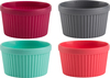 Multicolor - Ramekin Set 4pcs Silicone offers non-stick properties and flexibility for easy release. Ideal for souffles, creme brulees, appetizers, sauces, dips and more. Heat resistant silicone up to 428 degrees. Dishwasher safe. BPA free. This 3x3-3/4x3in package contains four 2-3/4in multicolored silicone ramekins. Imported.