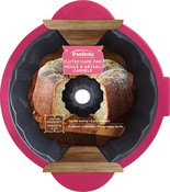 """Round 11.5"""" - Structure Pro Fluted Cake Pan Gray/Fuchsia"""