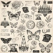Antiques Foiled Paper - Pen & Ink - KaiserCraft
