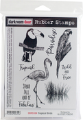 "Tropical Birds - Darkroom Door Cling Stamps 7""X5"""