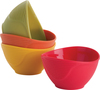 Red, Green & Yellow - Silicone Pinch Grip Bowls Set Of 4 These flexible silicone bowls are made for easy pouring. Ideal for condiments or ingredients. This package contains four silicone bowls in assorted colors that can hold up to .5 cup each. Resistant up to 428 degrees Fahrenheit. Dishwasher safe. Imported.