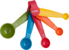 Assorted Colors - Measuring Spoons Set Of 5 Set of five measuring spoons in bright colors. Set features imperial and metric measurements, one each of 1/4 teaspoon/1.25 milliliters, 1/2 teaspoon/2.5 milliliters, 1 teaspoon/5 milliliters, 1/2 tablespoon/7.5 milliliters and 1 tablespoon/15 milliliters. Made of strong shock resistant ABS plastic, dishwasher safe. Package contains five measuring spoons and plastic holder. Imported.