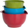 Red/Blue/Green - Melamine Mixing Bowl Set 3 Count Melamine Mixing Bowls. Mixing bowls are functional and attractive. Made of a durable melamine and come with non-slip bottoms. Built-in spouts and handles mean easy pouring. Top rack dishwasher safe. Do not microwave. Includes one red 3 quart bowl, one blue 2 quart bowl and one green 1.5 quart bowl. Imported.