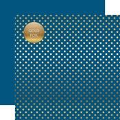 Bluejay Gold Foil Dot Paper - Spring Gold Foil 2018 - Echo Park