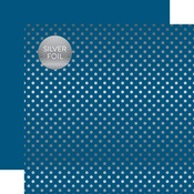 Bluejay Silver Foil Dot Paper - Spring Silver Foil 2018 - Echo Paper