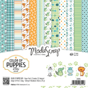 "Color Of Puppies Boys - Elizabeth Craft ModaScrap Paper Pack 6""X6"" 12/Pkg"