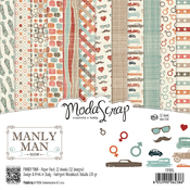 "Manly Man - Elizabeth Craft ModaScrap Paper Pack 6""X6"" 12/Pkg"