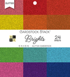"Brights Glitter Solid - DCWV Single-Sided Cardstock Stack 6""X6"" 24/Pkg"