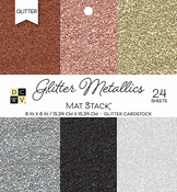 "Glitter Metallics Solid - DCWV Single-Sided Cardstock Stack 6""X6"" 24/Pkg"