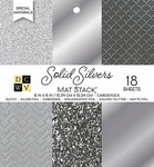 "Solid Silvers Glitter & Foil - DCWV Single-Sided Cardstock Stack 6""X6"" 18/Pkg"