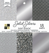 """Solid Silvers Glitter & Foil - DCWV Single-Sided Cardstock Stack 6""""X6"""" 18/Pkg"""