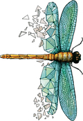 Dragonfly Origami - Carabelle Studio Cling Stamp A7