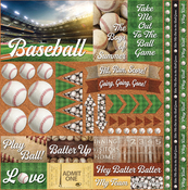 "Baseball 2 Elements Stickers 12""X12"""