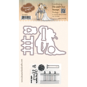 "Kiss The Bride - DreamerlandCrafts Clear Stamp & Die Set 4""X4"""