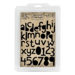 Cutout Lowercase Alpha & Numbers Cling Foam Stamps - Tim Holtz