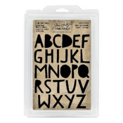 Cutout Uppercase Alphabet Cling Foam Stamps - Tim Holtz