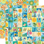 Beach Squares Paper - Summer Splash - Carta Bella - PRE ORDER