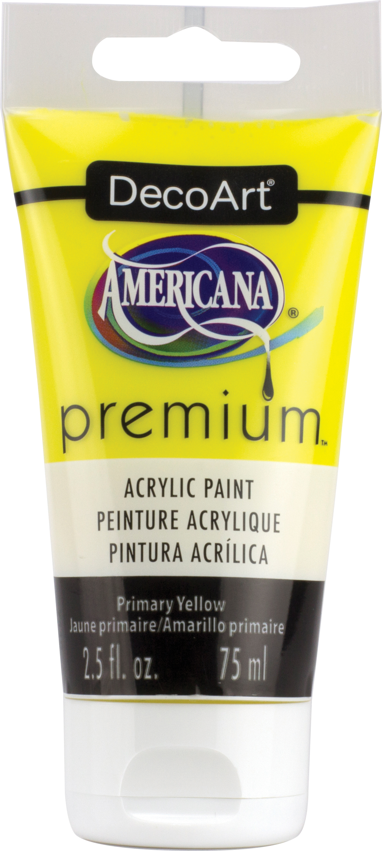 DecoArt Primary Yellow Americana Premium Acrylic Paint Tube 2.5oz