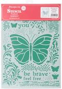 """Butterflies - Stamperia Stencil G 8.27""""X11.69"""""""