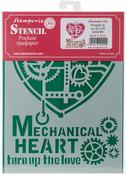 "Mechanical Heart - Stamperia Stencil D 7.87""X5.91"""