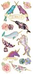 "Unicorns & Narwhals, 12/Pkg - Paper House Sticky Pix Faux Enamel Stickers 8""X3"""