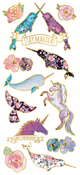 "Unicorns & Narwhals, 12/Pkg - Paper House Sticky Pix Faux Enamel Stickers 8""X3"""
