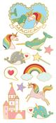 "Unicorns, Narwhals & Castles, 12/Pkg - Paper House Sticky Pix Faux Enamel Stickers 8""X3"""