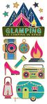 "Glamping, 15/Pkg - Paper House Sticky Pix Faux Enamel Stickers 8""X3"""