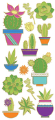 "Succulents, 14/Pkg - Paper House Sticky Pix Faux Enamel Stickers 8""X3"""