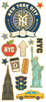 "New York, 15/Pkg - Paper House Sticky Pix Faux Enamel Stickers 8""X3"""