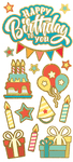 "Birthday, 15/Pkg - Paper House Sticky Pix Faux Enamel Stickers 8""X3"""