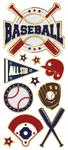 "Baseball, 11/Pkg - Paper House Sticky Pix Faux Enamel Stickers 8""X3"""