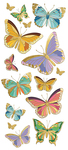 "Butterflies, 16/Pkg - Paper House Sticky Pix Faux Enamel Stickers 8""X3"""
