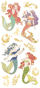 "Mermaids, 13/Pkg - Paper House Sticky Pix Faux Enamel Stickers 8""X3"""