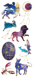 "Celestial, 11/Pkg - Paper House Sticky Pix Faux Enamel Stickers 8""X3"""
