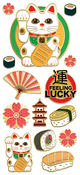 "Lucky Cat, 14/Pkg - Paper House Sticky Pix Faux Enamel Stickers 8""X3"""