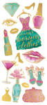 "Glam Fashion, 15/Pkg - Paper House Sticky Pix Faux Enamel Stickers 8""X3"""