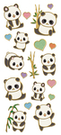 "Pandas, 19/Pkg - Paper House Sticky Pix Faux Enamel Stickers 8""X3"""