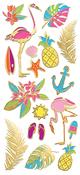 "Tropics, 18/Pkg - Paper House Sticky Pix Faux Enamel Stickers 8""X3"""
