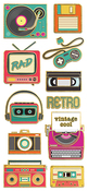 "Retro Electronics, 11/Pkg - Paper House Sticky Pix Faux Enamel Stickers 8""X3"""