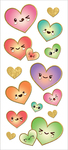 "Kawaii Hearts, 14/Pkg - Paper House Sticky Pix Faux Enamel Stickers 8""X3"""