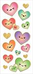"Kawaii Hearts, 14/Pkg - Paper House Sticky Pix Faux Enamel Stickers 8""X3"""