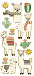 "Llamas, 12/Pkg - Paper House Sticky Pix Faux Enamel Stickers 8""X3"""