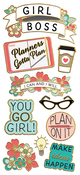 "Girl Power, 10/Pkg - Paper House Sticky Pix Faux Enamel Stickers 8""X3"""