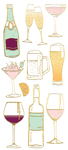 "Cocktails, 10/Pkg - Paper House Sticky Pix Faux Enamel Stickers 8""X3"""