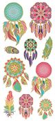"Dream Catcher, 10/Pkg - Paper House Sticky Pix Faux Enamel Stickers 8""X3"""