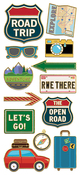"Road Trip - Paper House Sticky Pix Faux Enamel Stickers 8""X3"""