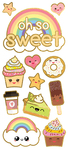 "Kawaii Oh So Sweet, 12/Pkg - Paper House Sticky Pix Faux Enamel Stickers 8""X3"""