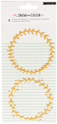 "Gold Metallic 3.5""X7.9"" - Snow & Cocoa Puffy Wreaths 2/Pkg"